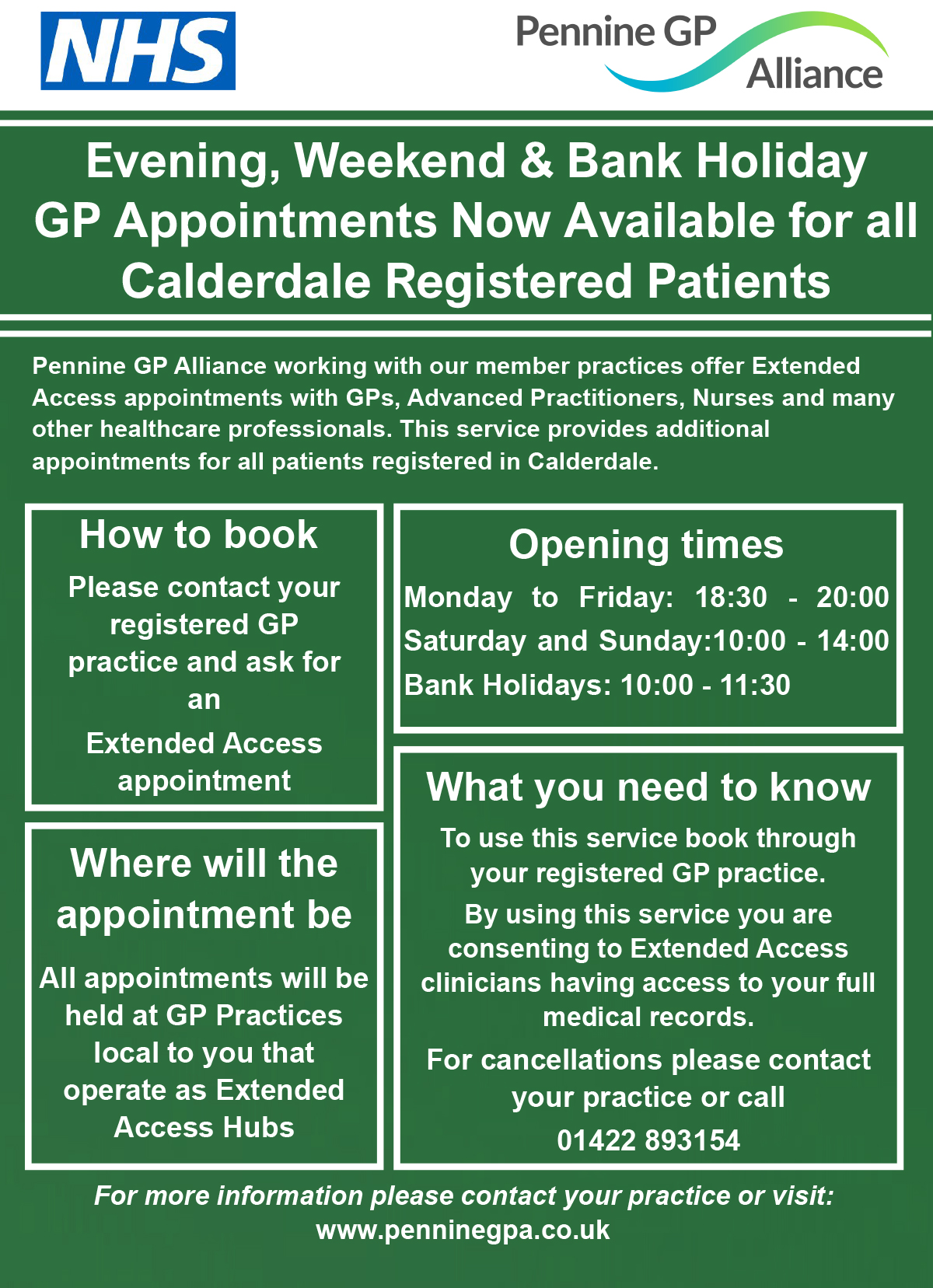 Evening, Weekend & Bank Holiday GP Appointments. See below the image for a PDF version